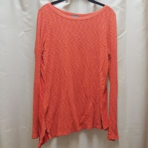 Left Of Center Asymmetrical Orange Top Shirt S